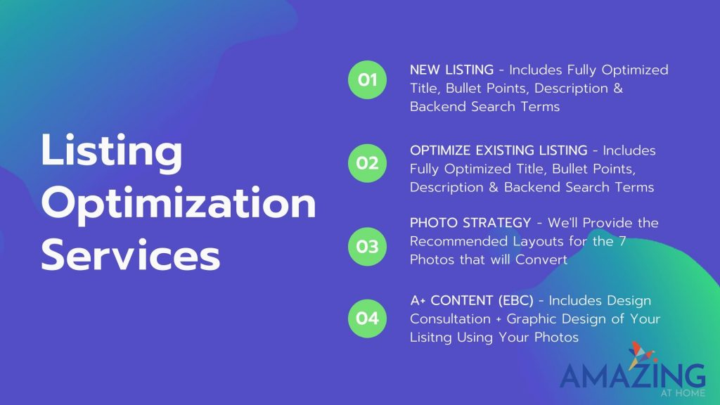 Amazing At Home Amazon and Shopify Listing Optimization Services